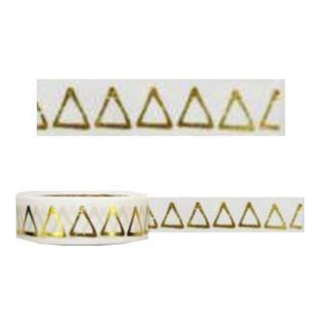Amazing Value Foil Washi Tape - White With Gold Metallic Triangle Design
