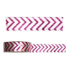 Amazing Value Foil Washi Tape - White With Hot Pink Chevron Design