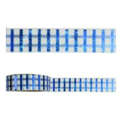 Amazing Value Foil Washi Tape - White With Metallic Blue Check Design