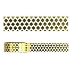 Amazing Value Foil Washi Tape - White With Metallic Gold Diamond Design
