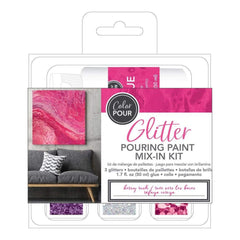 American Crafts Color Pour Glitter Mix-In Kit 4 pack Berry Rush