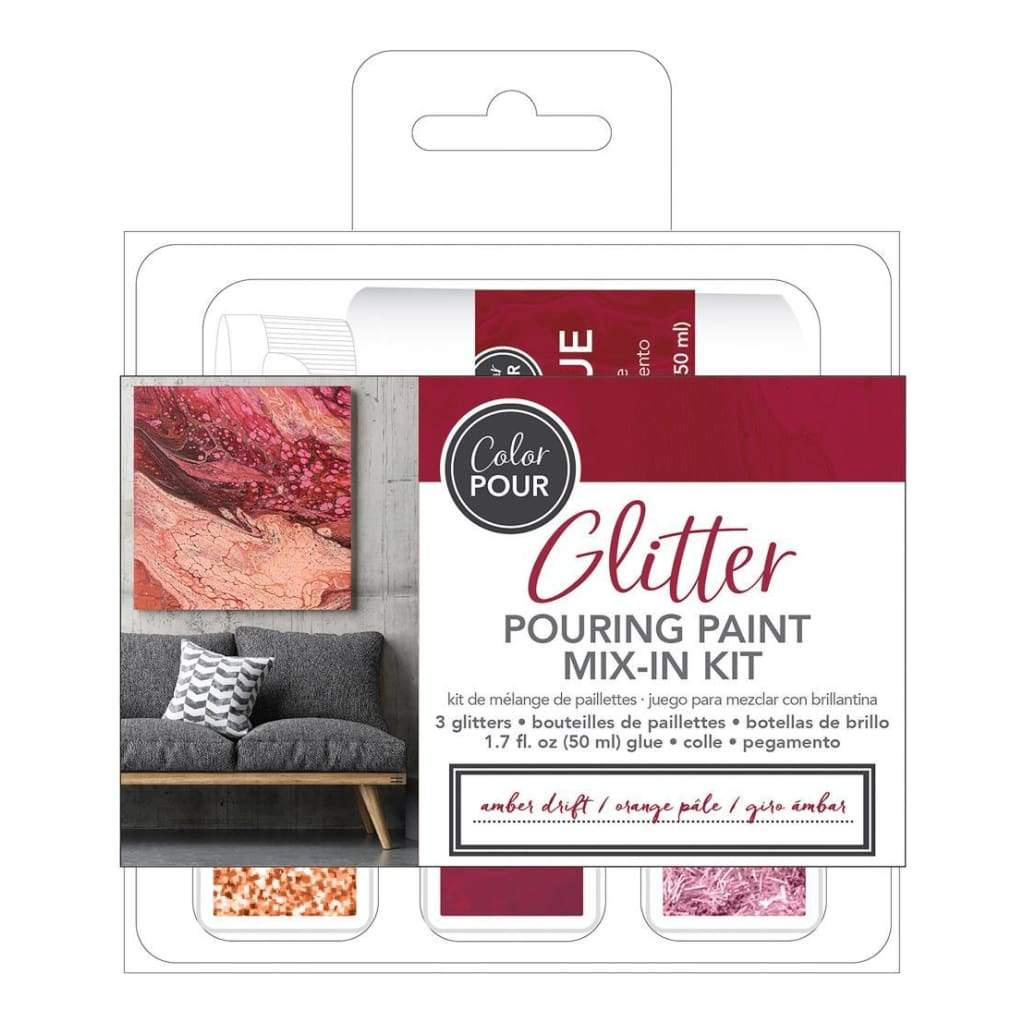 American Crafts Colour Pour Glitter Mix-In Kit 4 pack Amber Drift