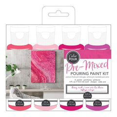 American Crafts Colour Pour Pre-Mixed Paint Kit 4 pack Berry Rush