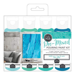 American Crafts Colour Pour Pre-Mixed Paint Kit 4 pack Tidal Wave