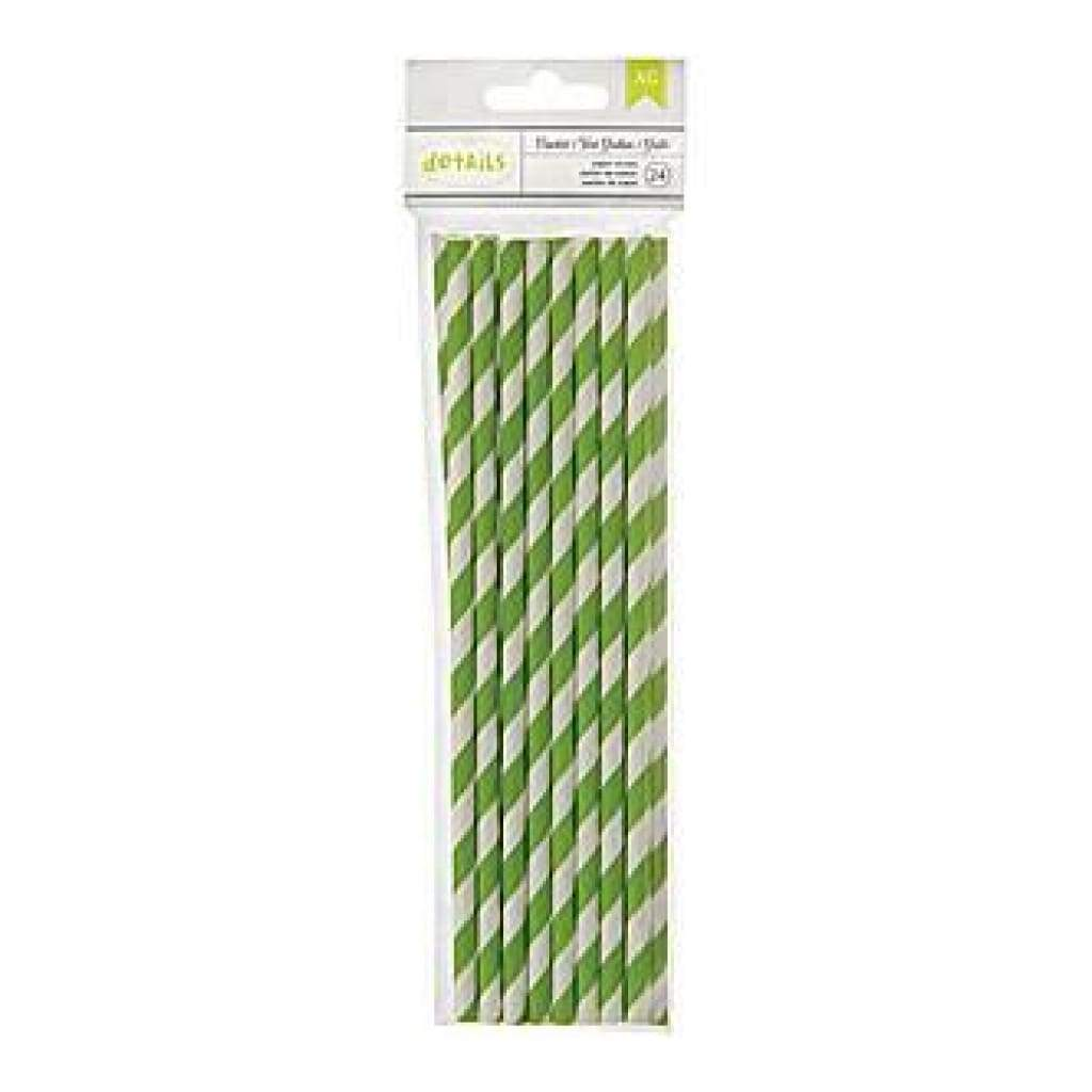 American Crafts - Details Lined Paper Straws 24 Pack - Cricket