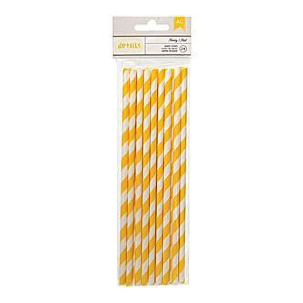 American Crafts - Details Lined Paper Straws 24 Pack - Honey
