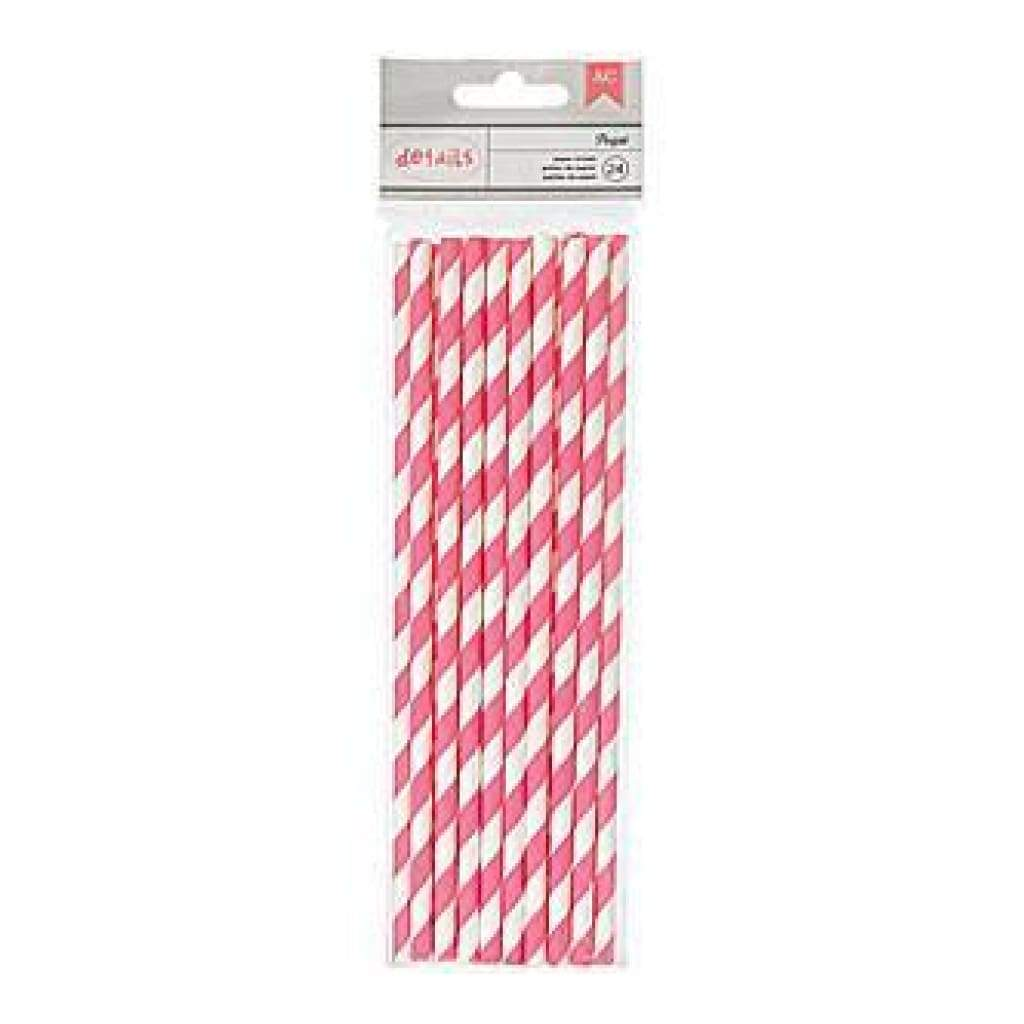 American Crafts - Details Lined Paper Straws 24 Pack - Parfait