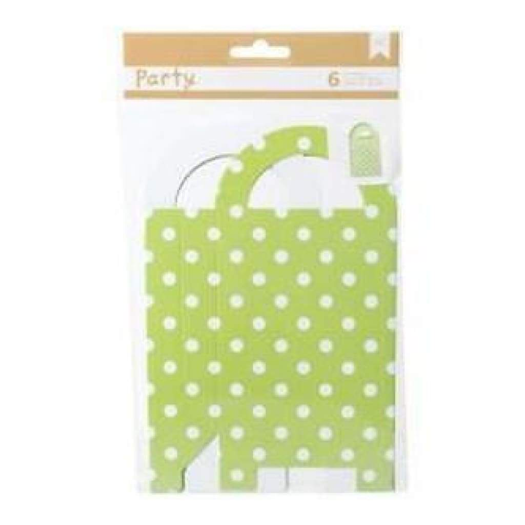 American Crafts - Diy Party Gift Bag Treat Boxes 3.25In.X6.5In.X1.5In. 6 Pack  Green & White