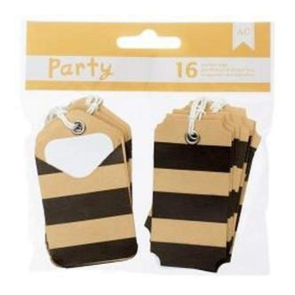 American Crafts - Diy Party Pocket Tags 16 Pieces  Black & Kraft