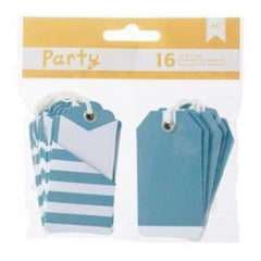 American Crafts - Diy Party Pocket Tags 16 Pieces  Blue & White