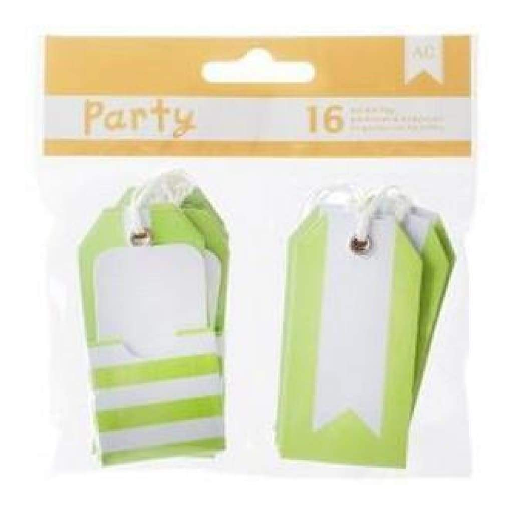 American Crafts - Diy Party Pocket Tags 16 Pieces  Green & White