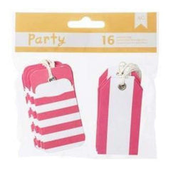 American Crafts - Diy Party Pocket Tags 16 Pieces  Pink & White