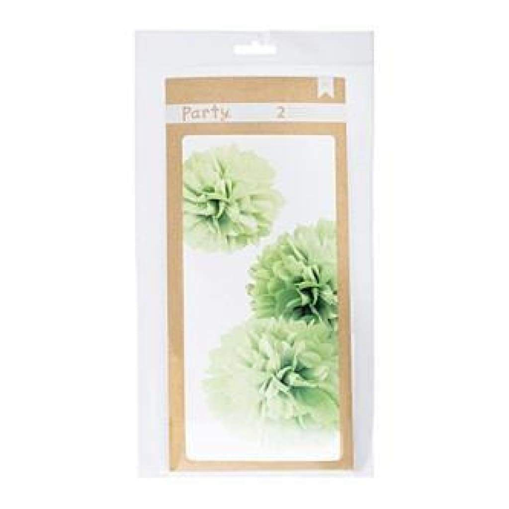American Crafts - Diy Party Pom Poms 8In. 10In. & 12In. Green