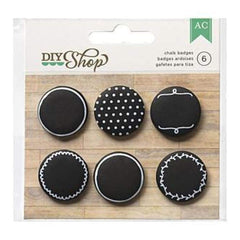 American Crafts - Diy Shop Adhesive Badges 6 Pack Chalkboard