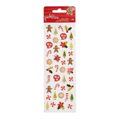 Pebbles - Merry Merry Puffy Stickers 2.75 inch X7.75 inch - Mini Accents