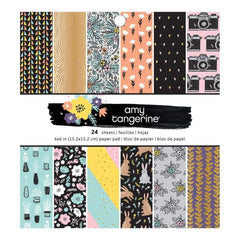 American Crafts Single-Sided Paper Pad 6 inch X6 inch 24 pack Amy Tan Shine On, 24 Designs/1 Each