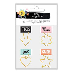Amy Tan Shine On Shaped Binder Clips 4 pack Decorative