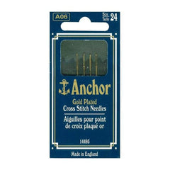 Anchor Gold-Plated Cross Stitch Needles Size 24 4 pack