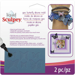 Liquid Sculpey Silicone Bakeable Mold with Squeegee - Geo Butterfly
