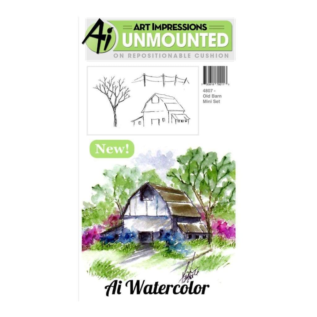 Art Impressions Cling Rubber Stamp Sets 3 inch X4 inch Old Barn