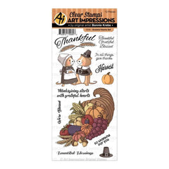 Art Impressions Thanksgiving Clear Stamps Grateful Hearts