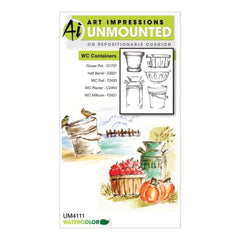 Art Impressions Watercolour Cling Rubber Stamps Containers