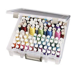 Artbin Super Satchel Box With Removable Thread Trays 15In.X14in.X3.5In. Translucent