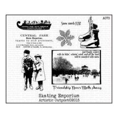 Artistic Outpost Cling Stamps 3.75In. X6in.  - Skating Emporium