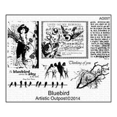 Artistic Outpost Cling Stamps 9In.X7in. Bluebird