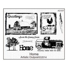 Artistic Outpost Cling Stamps 9In.X7in. Home