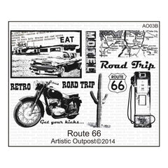 Artistic Outpost Cling Stamps 9In.X7in. Route 66
