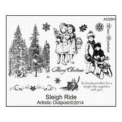 Artistic Outpost Cling Stamps 9In.X7in. Sleigh Ride
