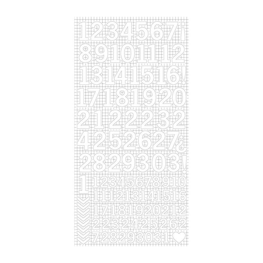 Kaisercraft Number Stickers 6in x 12in - White