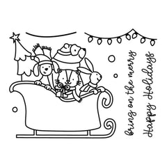Avery Elle Clear Stamp Set 4 inch X3 inch Sledding Critters