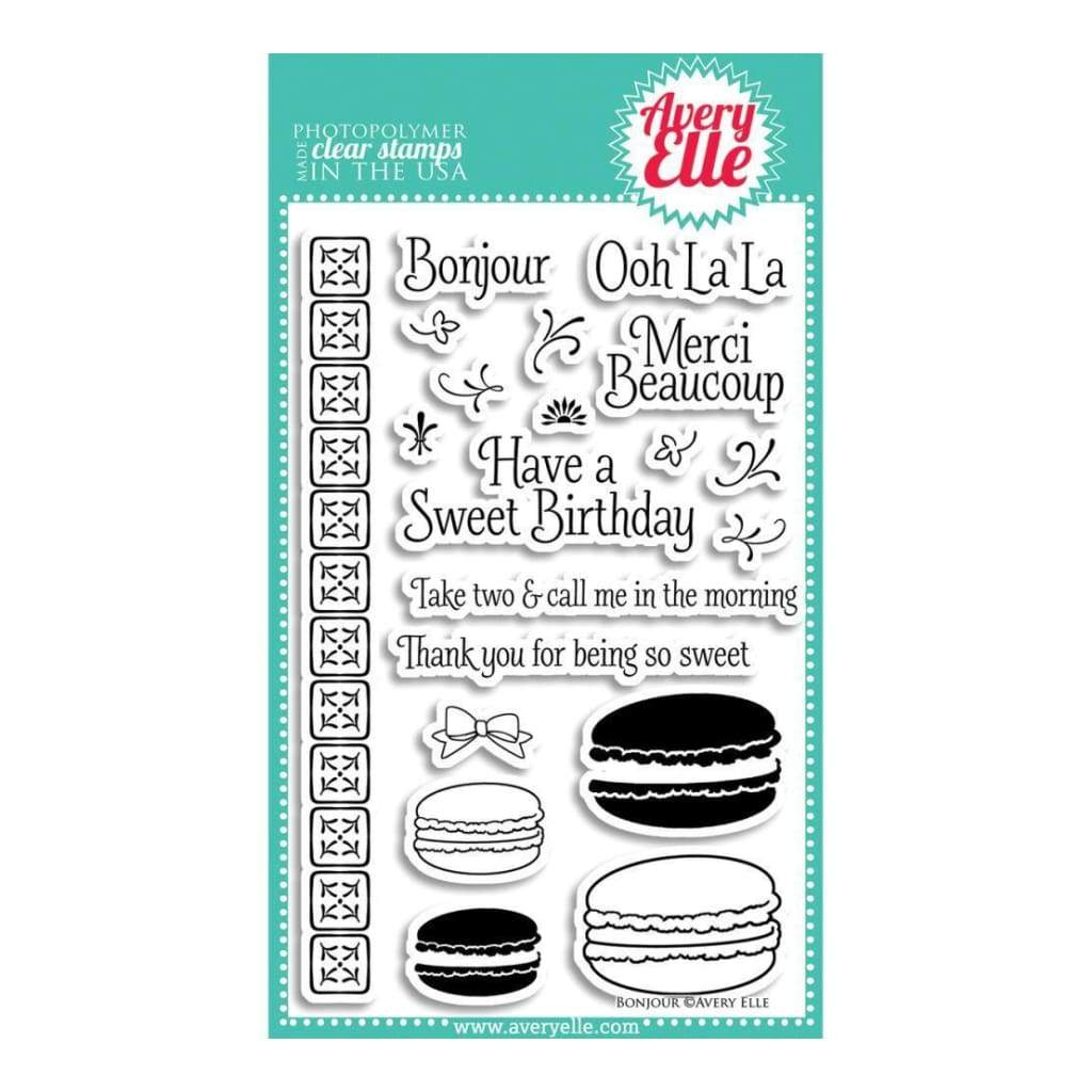 Avery Elle Clear Stamp Set 4 inch X6 inch Bonjour