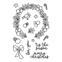 Avery Elle Clear Stamp Set 4 inch X6 inch Festive Wreath