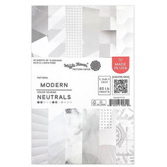 Waffle Flower 80lb Single-Sided Paper Pad 5.5in x 8.5in 36 pack - Modern/Neutrals, 12 Designs/3 Each