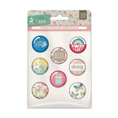 Basic Grey - Mint Julep Collection - Flair - 8 Adhesive Badges