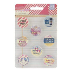 Basic Grey Soleil Metal Button Flair Stickers 8/Pkg