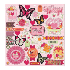 BoBunny - Sweet Clementine Chipboard Stickers 12X12in with Dark Pink Foil Accents
