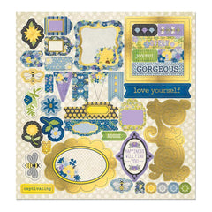 BoBunny - Bee-Utiful You Chipboard Stickers 12X12in with Iridescent Foil Accents