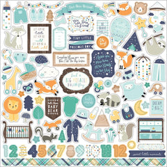 Echo Park Hello Baby Boy Cardstock Stickers 12 inch X12 inch Elements