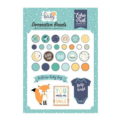Echo Park - Hello Baby Boy Decorative Brads 25 per pack - Plus 4 Chipboard Pieces