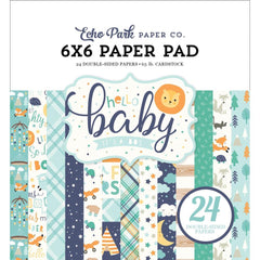 Echo Park Double-Sided Paper Pad 6 inch X6 inch 24 pack Hello Baby Boy, 12 Designs/2 Each