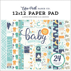 Echo Park - Single-Sided Paper Pad 12 X 12in 24 per pack Hello Baby Boy, 12 Designs,2 Each