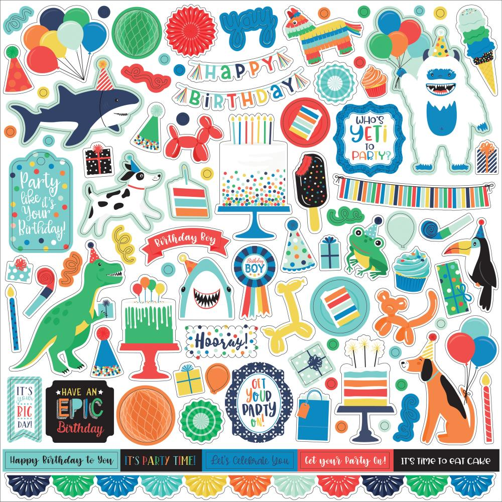 Echo Park It's Your Birthday, Boy Cardstock Stickers - 12in x 12in - Elements
