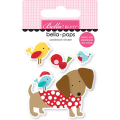 Bella Blvd Santa Squad Bella-Pops 3D Stickers - Dachshund Through The Snow