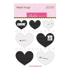 Bella Blvd Legacy Heart Hugs Embellishments 7 pack Black & White