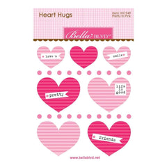 Bella Blvd Legacy Heart Hugs Embellishments 7 pack Pretty In Pink