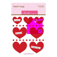 Bella Blvd Legacy Heart Hugs Embellishments 7 pack Wild Berry